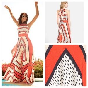 Eliza J Red Print Scarf Handkerchief Maxi Dress
